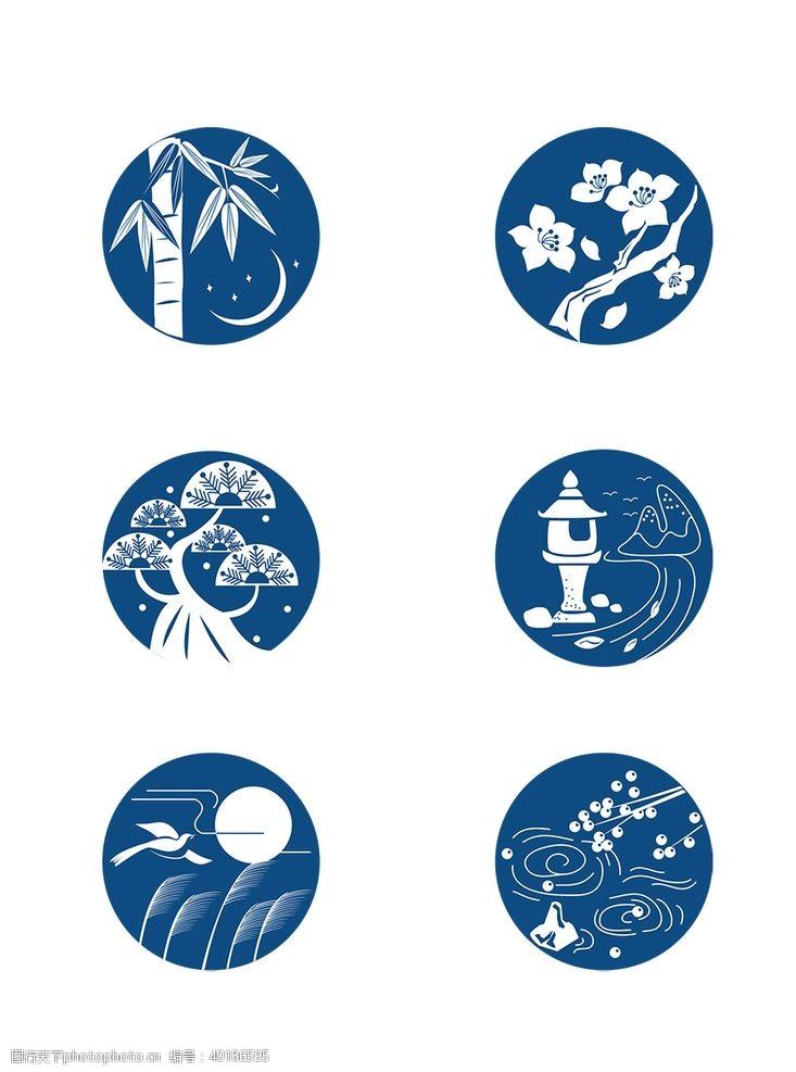 扇面日式花纹图片
