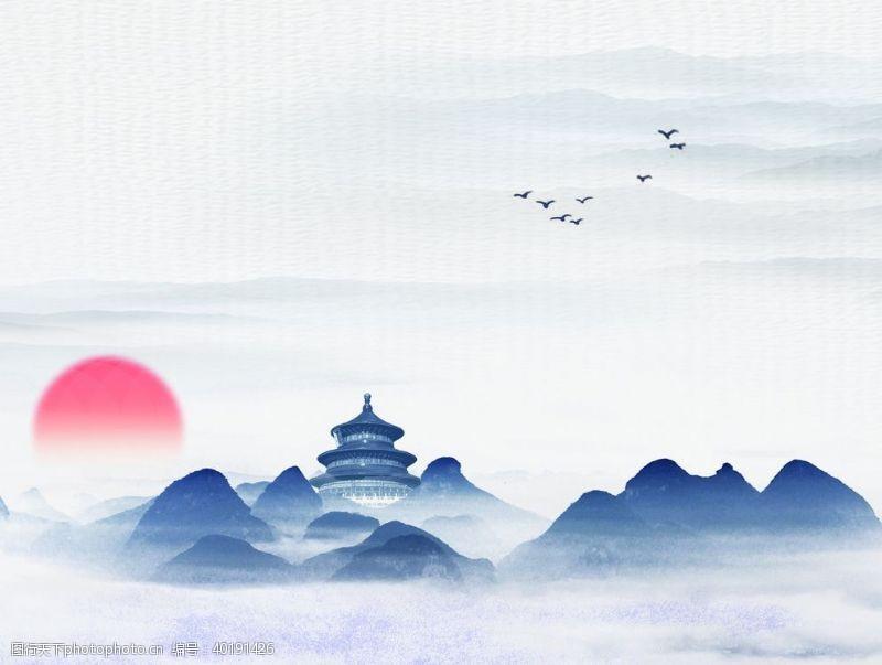 墙壁山水画图片