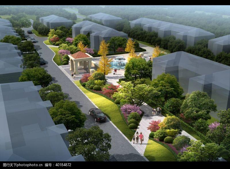 建筑效果图公园鸟瞰建筑景观效果表现图片