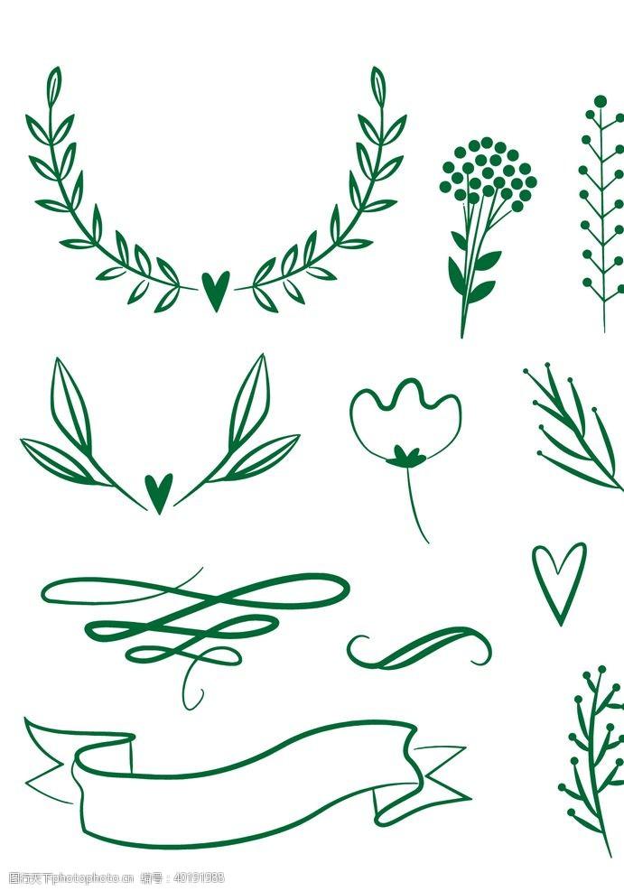 请帖手绘线描涂鸦婚礼装饰图片