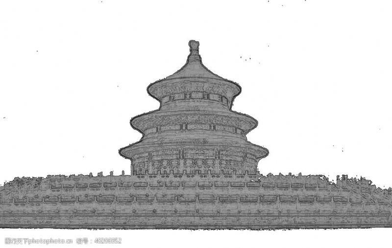 宫殿北京天坛线性稿图片