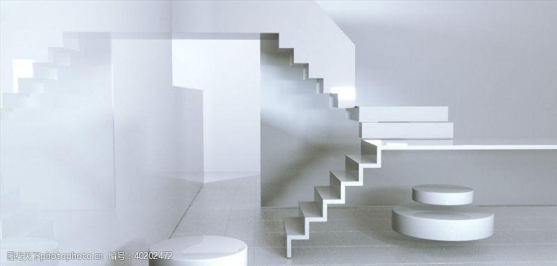 电影背景C4D模型抽象楼梯空间白色图片