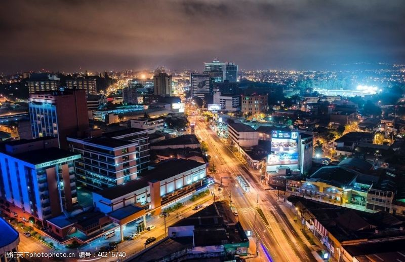 国外旅游俯拍都市夜景图片