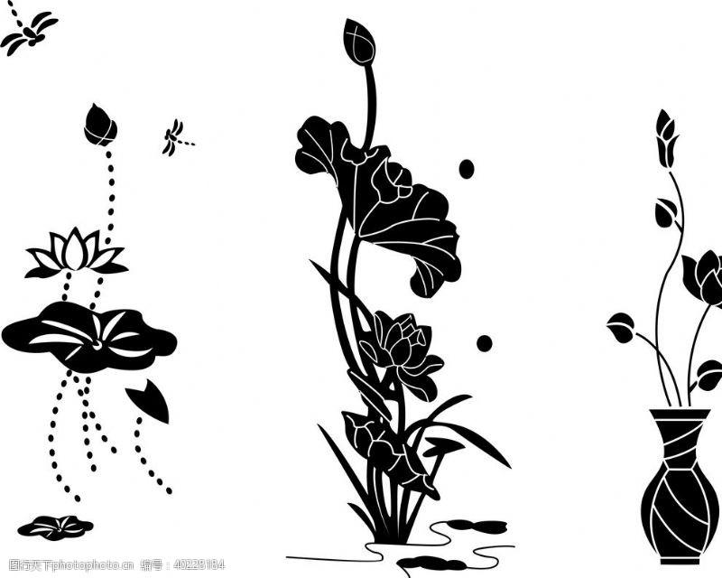 植物剪影荷花莲花素材图片