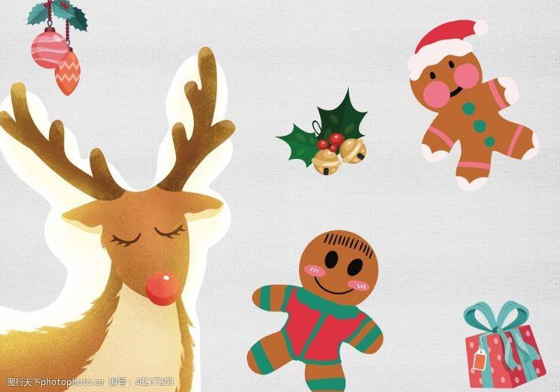 圣诞麋鹿姜饼礼物铃铛图片