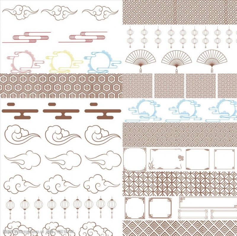 abr五十种中国风底纹边框笔刷图片