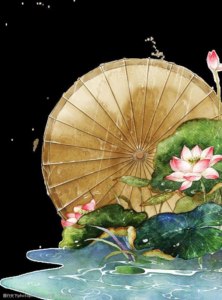 水彩花卉油纸伞图片