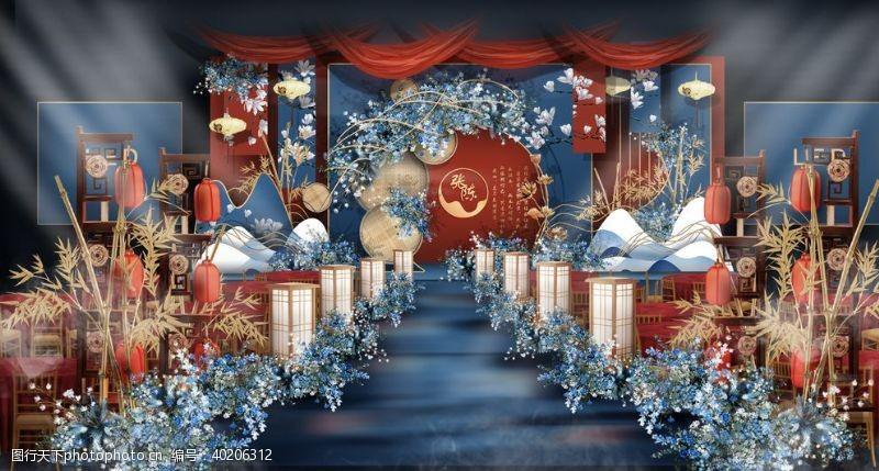山丘中式婚礼主舞台效果图图片