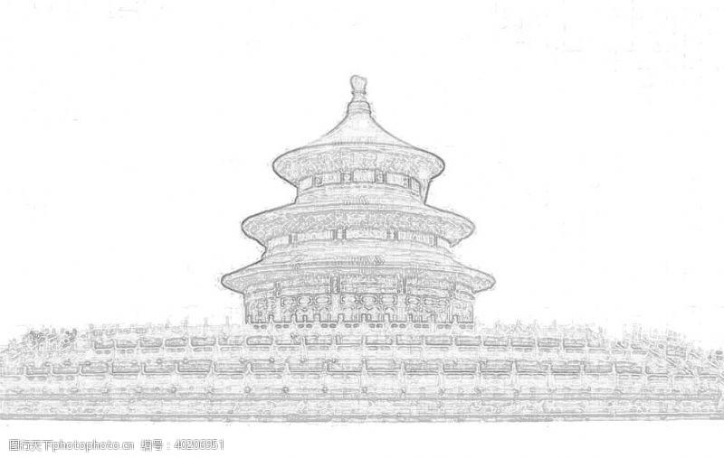 宫殿北京天坛轻描线性稿图片