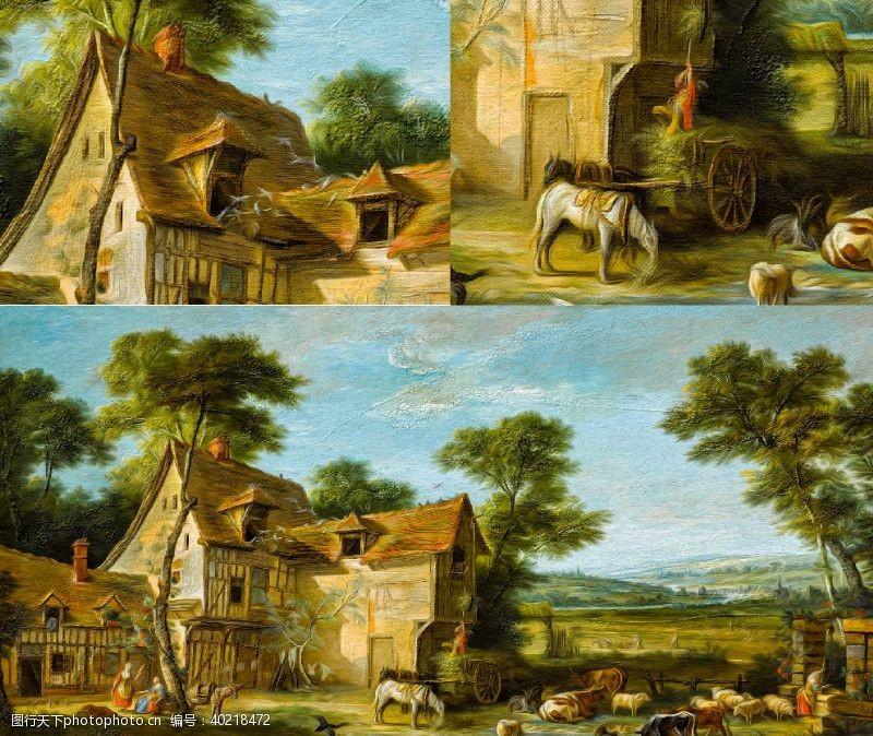 油画艺术农场图片
