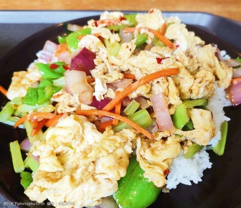 洋葱青椒炒蛋饭图片