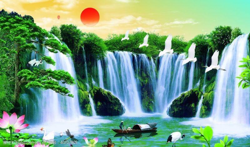白鹤山水画背景墙日出图片