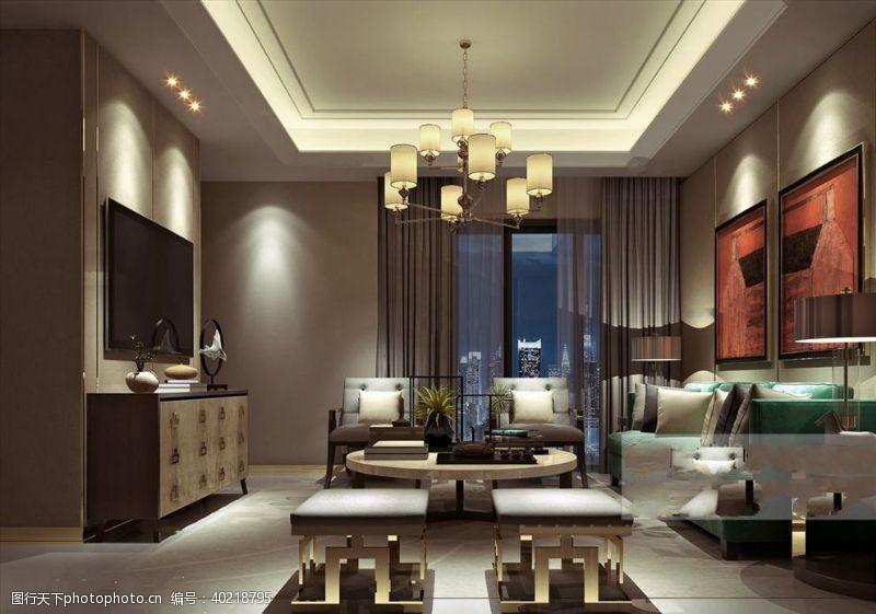 室内模型现代客厅图片