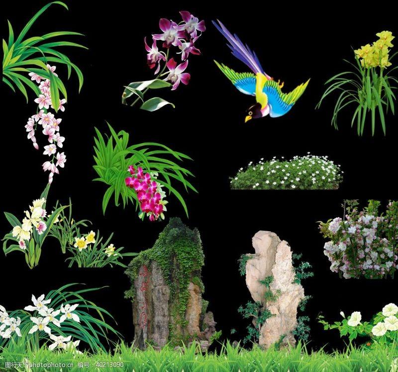 花束小草假山图片
