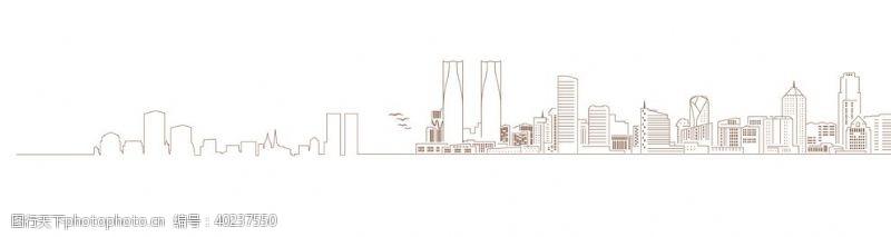 建筑线稿城市剪影图片