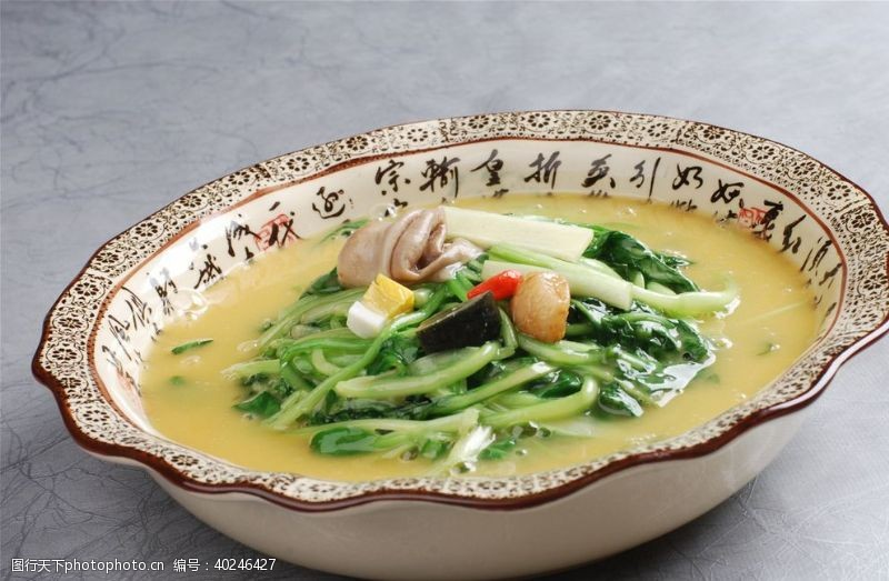 鼎汤鸡毛菜图片