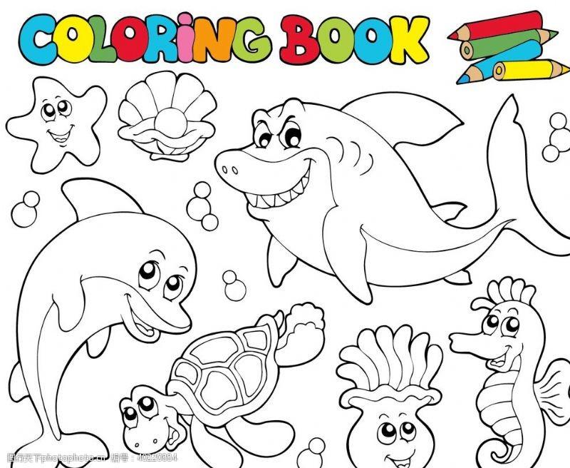 海豚海底卡通简笔画图片