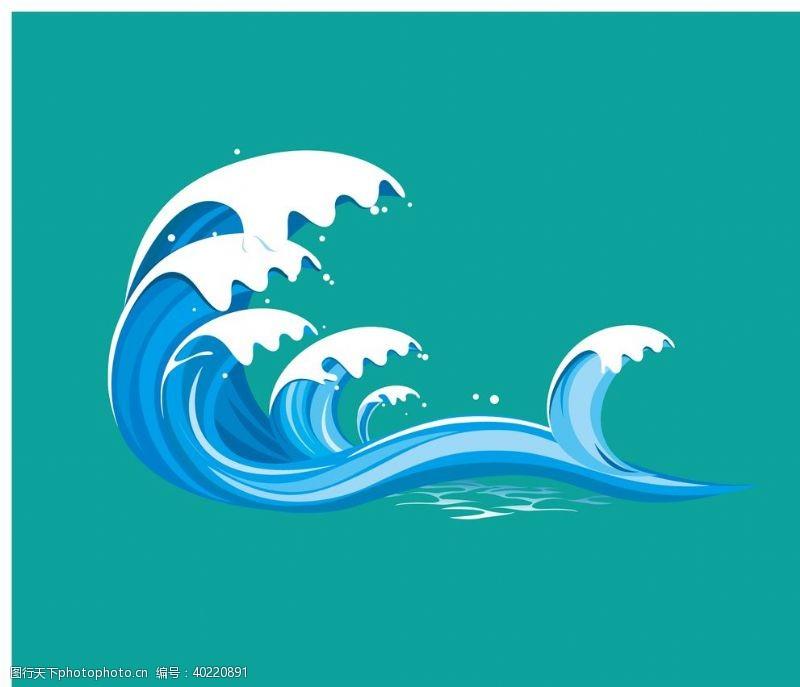蓝色波浪海浪波浪矢量图片