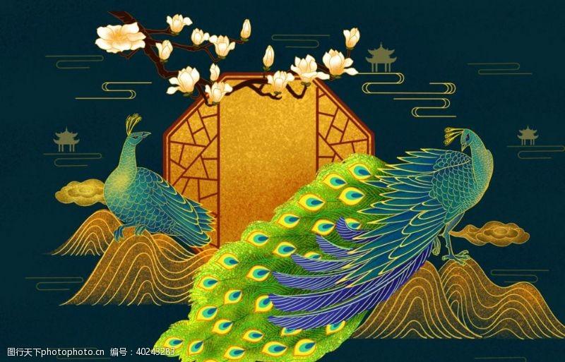 国潮海报孔雀图片