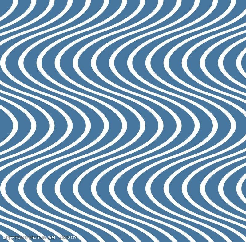 卧室设计蓝色波浪纹图片