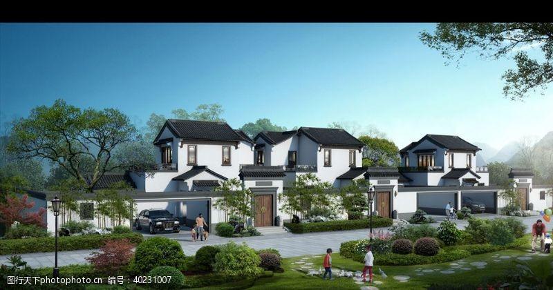 室外模型绿城别墅洋房黄昏园林景观图片