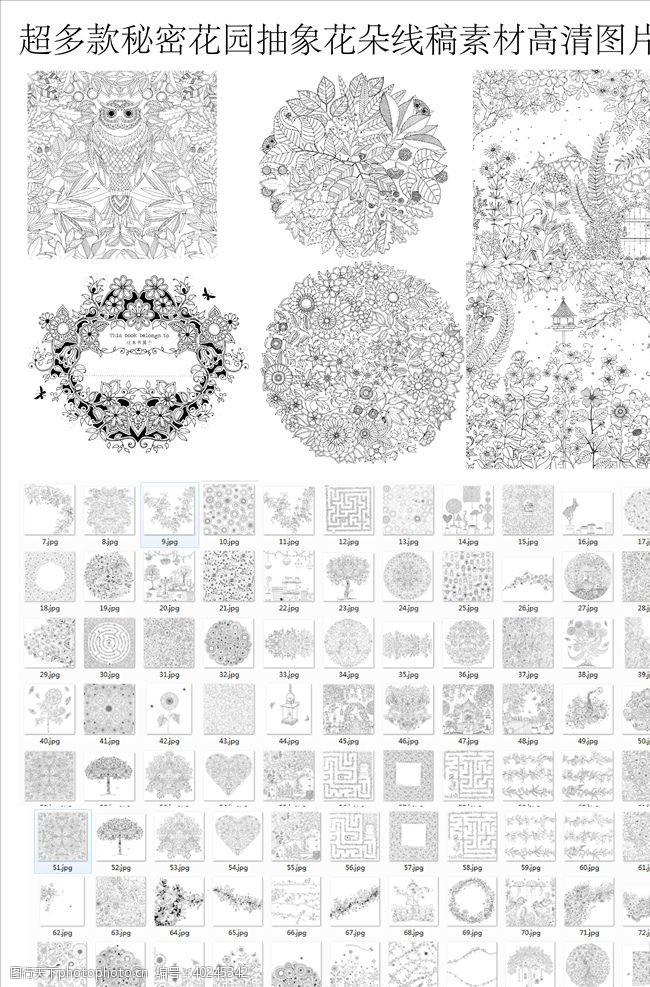 黑板曼陀罗花纹秘密花园系列图片