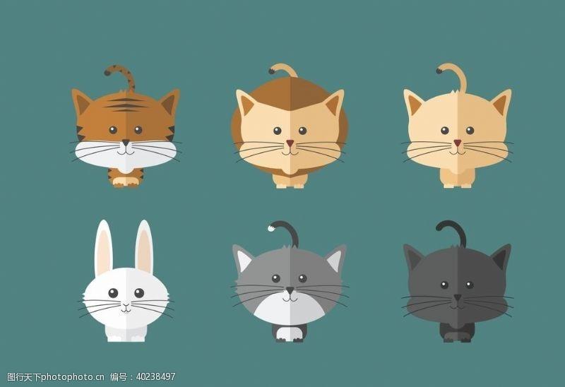 创意插画猫矢量图片