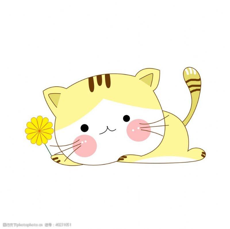 拿着太阳花的黄色小猫图片