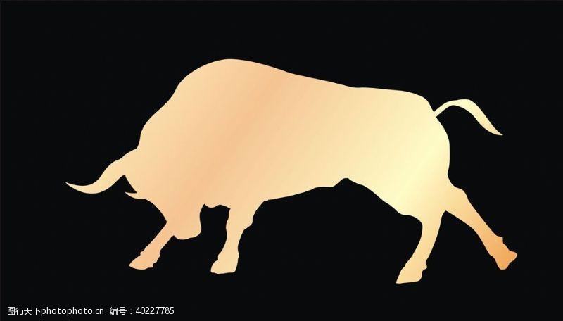 牛剪影矢量牛图片