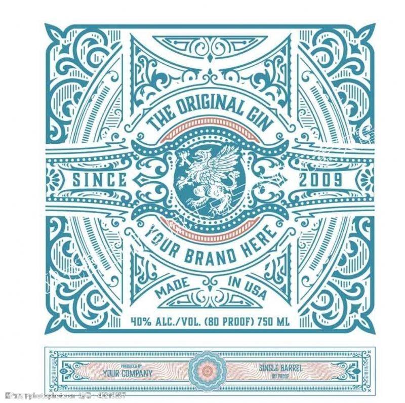 欧式复古标签装饰元素矢图片