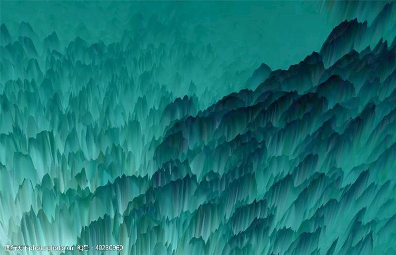 青色抽象水墨山峰图片