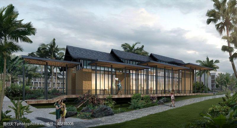 建筑效果图热带别墅度假村椰岛景观效果图图片