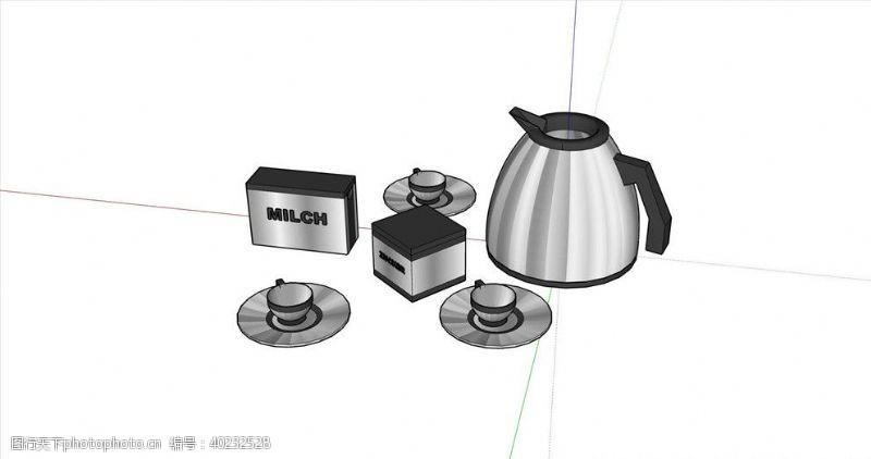 厨房用具热水壶咖啡杯组合图片