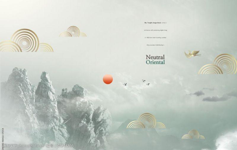 古风背景山水中国画图片