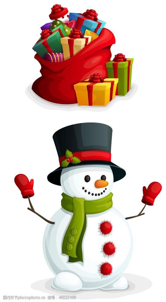 插画海报圣诞高清雪人礼盒图片