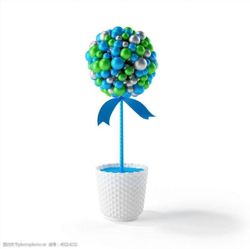 圣诞节彩球花盆C4D模型图片