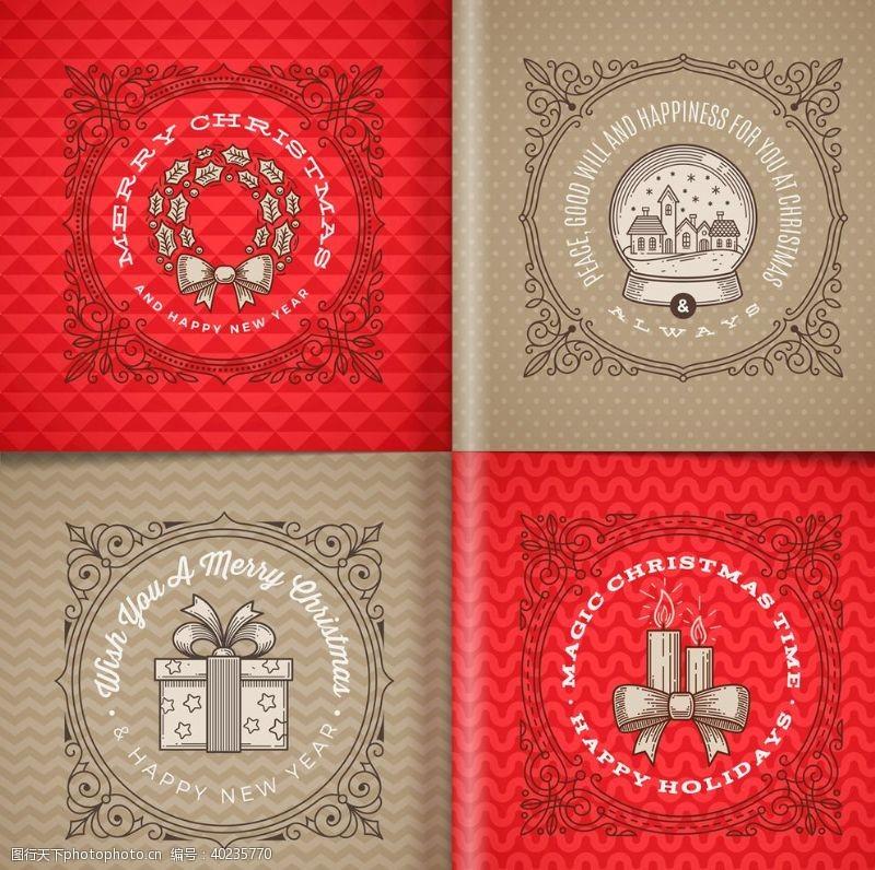 圣诞主题圣诞节矢量插画标签图片