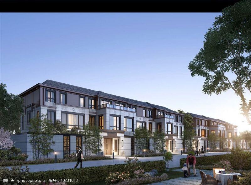室外模型小区别墅洋房黄昏园林景观图片