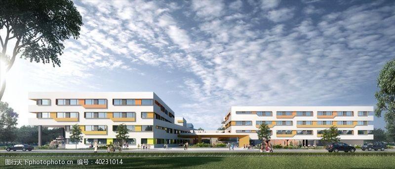 室外模型小学学校幼儿园建筑外观设计案例图片