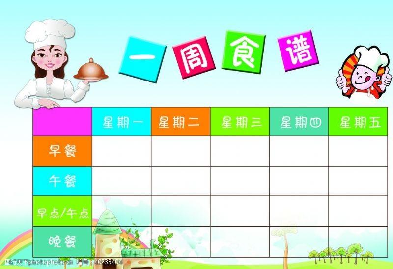 幼儿园展板幼儿园每周食谱图片