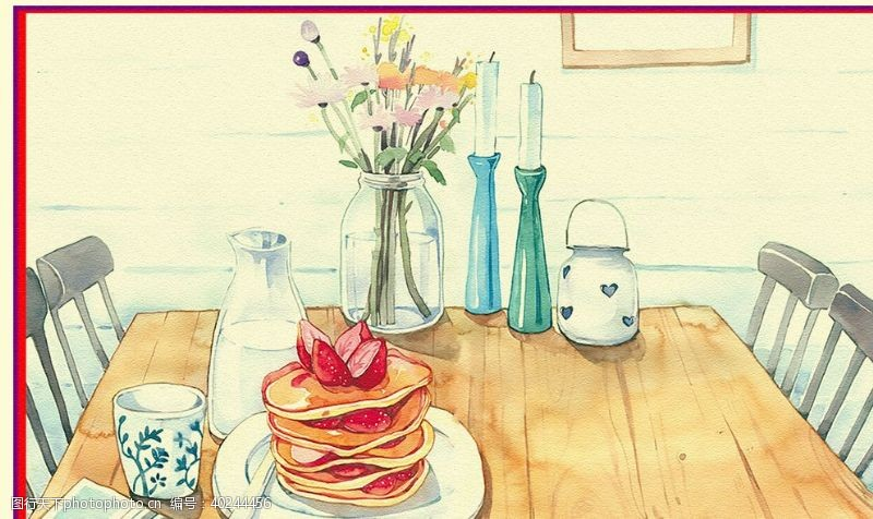 手绘花朵餐厅图片