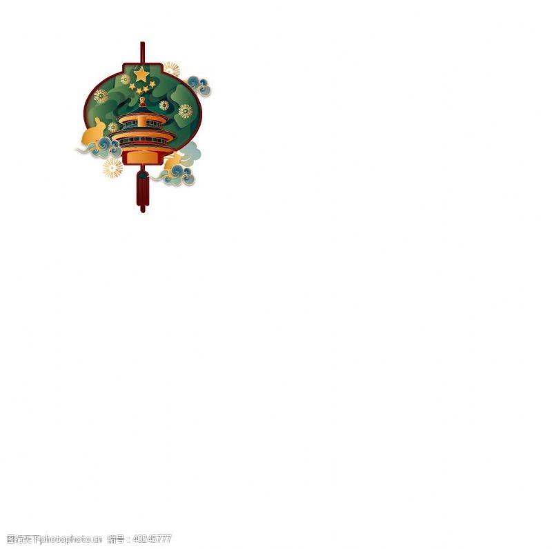 中秋节灯笼亭子装饰国潮图片