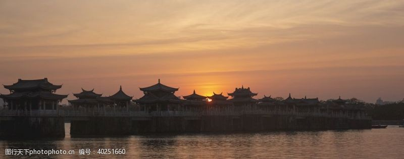 风景名胜冬至夕阳下的广济桥图片
