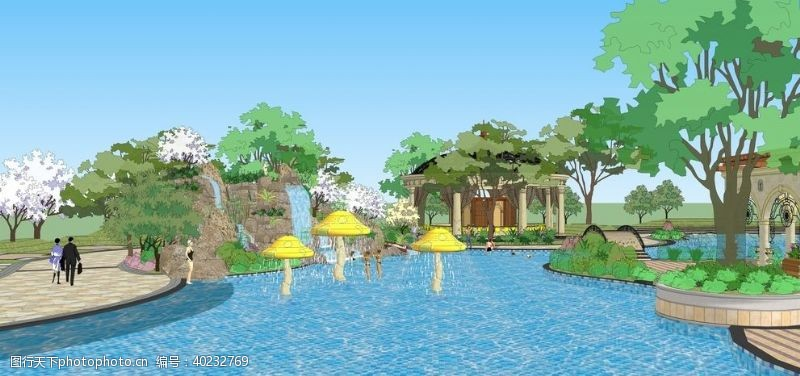 欧式风格度假村景观园林设计效果图图片