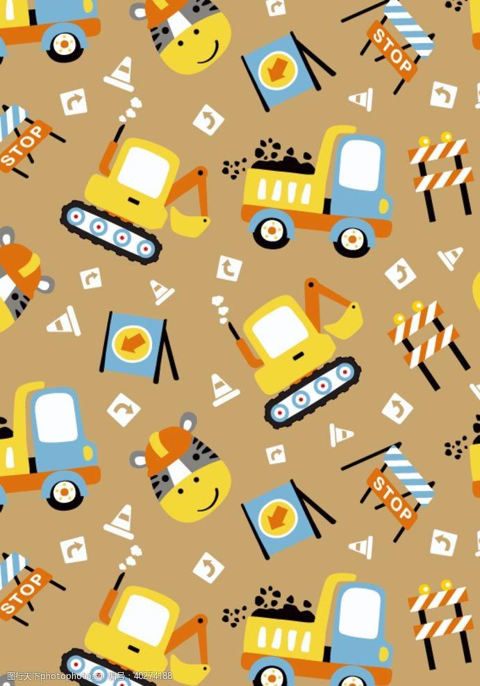 矢量背景工程汽车卡通无缝乱花背景图图片