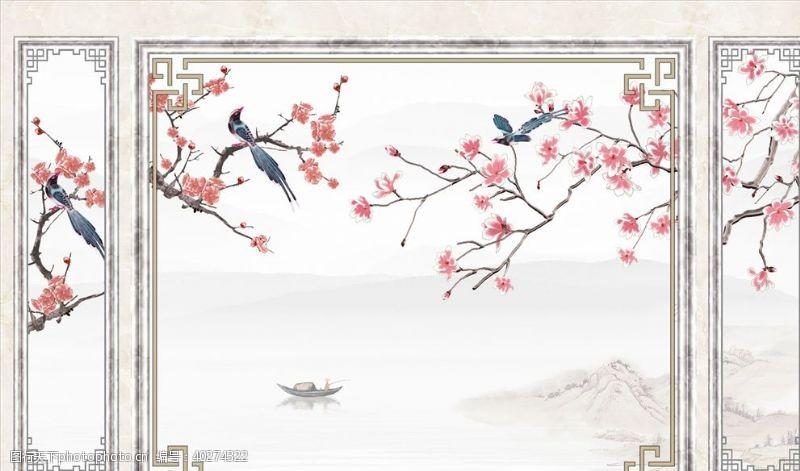 花鸟画梅花喜鹊背景墙图片