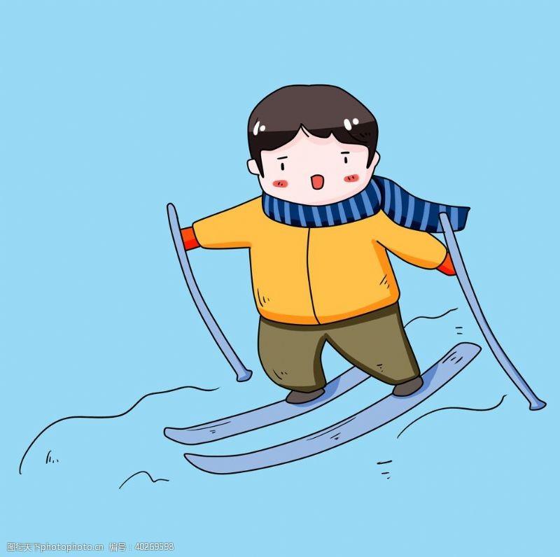 滑雪男孩图片