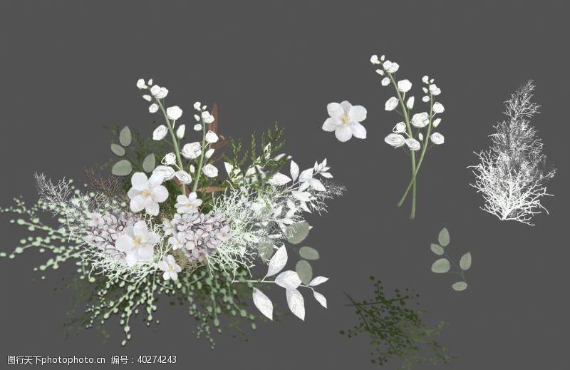 手婚礼效果图素材白绿色绣球花艺图片