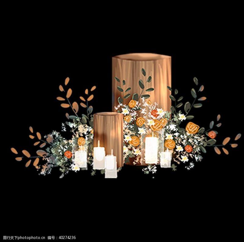 手婚礼效果图素材木桩图片