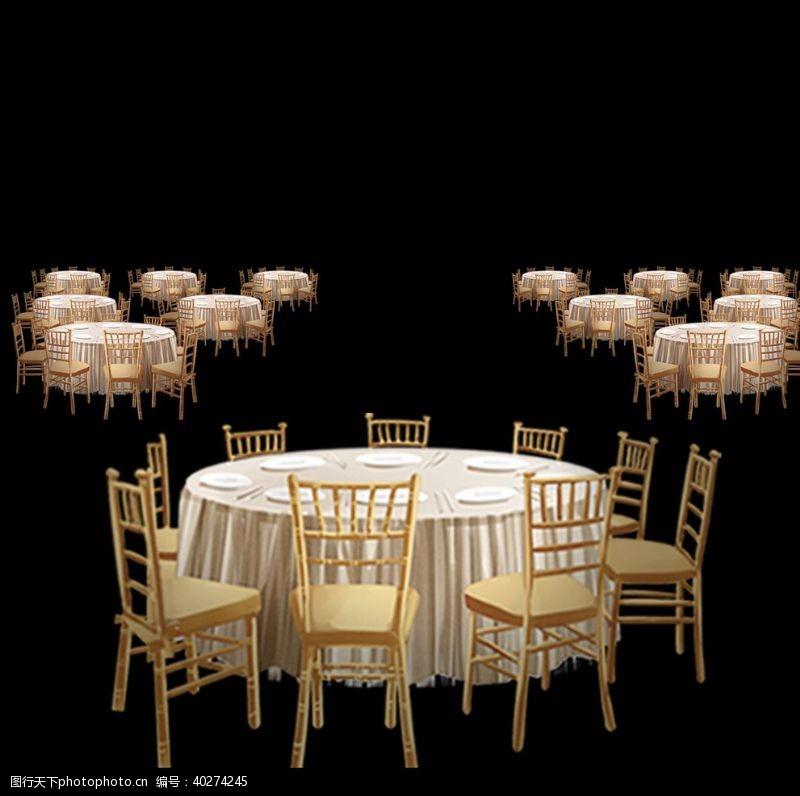 手婚礼效果图素材香槟色桌椅图片